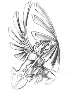 Saints warrior tattoo design by NeoGzus Archangel Michael Tattoo, St Michael Tattoo, Angel Tattoo Designs, Tattoo Designs Men, Stairs To Heaven Tattoo, Guerrero Tattoo, Revelation Tattoo, Tattoo No Peito, Police Tattoo