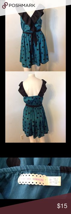 UO Pins and Needles Polka Dot Ruffle Dress S Pins and Needles dress. Blue/green polka dot with a ruffle bust. Color has more green in it than photos. Elastic belted waist. Nice condition. Urban Outfitters Dresses