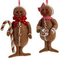 Gingerbread ornaments, raz Christmas, stuffed gingerbread