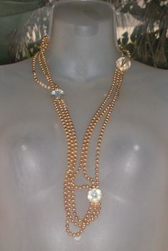 Vintage Textured Rose Gold Beaded Necklace by PatsapearlsBoutique, $59.99