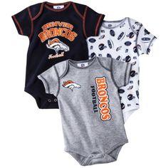 NFL Infant Boy's Body Suit 3-Pack - Broncos