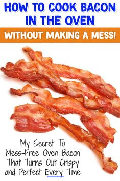 Cooking Hacks - cooking for beginners - How to Cook Bacon in the Oven WITHOUT making a MESS! My secret tip to Mess Free Oven Baked Bacon Make Bacon In Oven, Oven Fried Bacon, How To Make Bacon, Oven Baked, Bacon Cooked In Oven, Cooking Bacon, Easy Cooking, Cooking Recipes, Budget Recipes