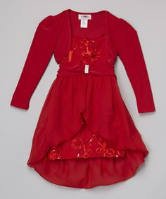 Look at this Red Hi-Low Layered Dress & Bolero - Toddler & Girls on #zulily today!