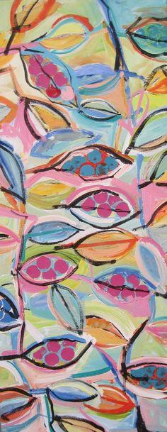 Hojas estampadas es una pintura original de técnica mixta sobre lienzo. Mide 12 x 30 x 2.5 . Esta pieza se realiza en medio de acrílico, acrílico