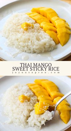Thai Mango Sweet Sticky Rice A classic Southeast Asian dessert! Soft, sweet sticky rice smothered with creamy sweet coconut sauce, then paired with sweet, juicy fresh mangos. Lovely and simple to make! Mango Desserts, Rice Desserts, Asian Desserts, Asian Recipes, Sweet Recipes, Thai Dessert Recipes, Arabic Recipes, Health Desserts, Sweet Sticky Rice