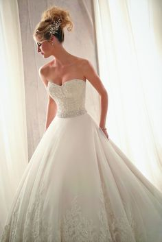 667 x 1000 Mori Lee by Madeline Gardner Style: 2621  Details Beaded Alençon Lace on Tulle with Wide Hemline