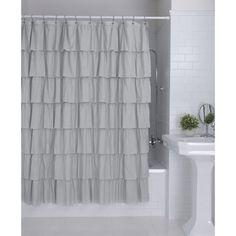 Better Homes & Gardens Ruffles Shower Curtain Shower Curtains Walmart, Ruffle Shower Curtains, Grey Curtains, Window Curtains, Shower Tile Designs, Bathroom Designs, Shower Routine, Small Toilet, Shower Remodel