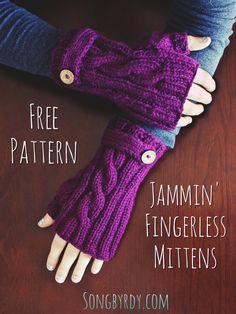 - Free Pattern for Jammin' Fingerless Mittens! Knitted Mittens Pattern, Loom Knitting Patterns, Knit Mittens, Knitting Stitches, Free Knitting, Hat Patterns, Stitch Patterns, Knitting Machine, Sock Knitting