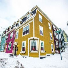 Travel Canada - Colourful Newfoundland houses a must see in winter Newfoundland Canada, Newfoundland And Labrador, Future Photos, Dere, Take Better Photos, Cool Landscapes, Canada Travel, Landscape Photos, East Coast