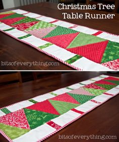 Christmas Tree Table Runner - Bits of Everything Christmas Gift: For Mother in Law - Bits of Everything Great Christmas gift for so many people! Table Runner Christmas, Christmas Tree On Table, Christmas Table Decorations, Xmas Table Runners, Xmas Tree, Christmas Patchwork, Christmas Sewing, Christmas Quilting, Purple Christmas