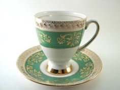 Antique Royal Stafford Kelly green Tea Cup & Saucer, English tea cup and saucer set, Kelly Green, white and gold tea cup.