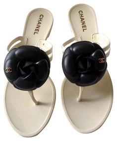 7a036c452cf3 Chanel White Orig. Box - Black Camellia Dark Jelly (Eu 38) Sandals Size EU  38 (Approx. US 8) Regular (M