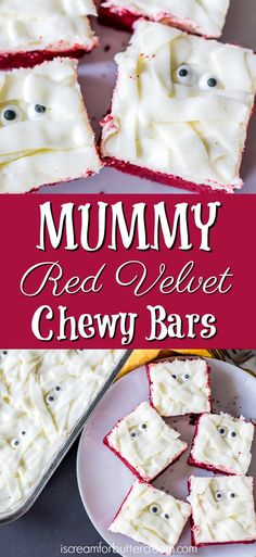 These Mummy Red Velvet Chewy Bars are so fun and such an easy Halloween treat for kids both young and old. The chewy bar layer is made using a red velvet cake mix as the base of the recipe, so it's super easy to mix up. The topping is a yummy cream cheese buttercream spread on and then piped on to get that mummy look and don't forget those little mummy eyes peeking out from under. #halloweencake via @KaraJaneB