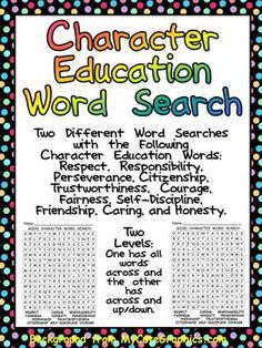 FREE Character Education Word Search- Two Levels by Melissa Williams Good Character Traits, Teaching Character, Character Education, Character Development, Character Counts, Free Characters, Word Poster, Teaching Social Skills, Counseling Activities