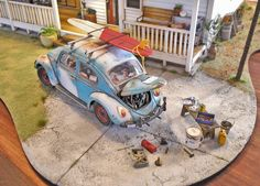 Surfers House Mechanic Shop, Car Magazine, Miniature Christmas, Volkswagen Bus, Model Car, Diecast Models, Gas Station, Small World, Old Cars