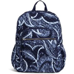 Vera Bradley Iconic Campus Backpack ($108) ❤ liked on Polyvore featuring bags, backpacks, indio, blue backpacks, lightweight backpack, light weight backpack, lightweight rucksack and day pack backpack