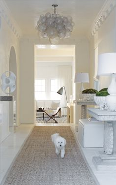 Melanie Turner Interiors, great foyer, proportioned perfectly with the beautiful custom dentil molding, Oly bubble chandelier, and grass cloth rug....you can't forget about sweet Scooter too