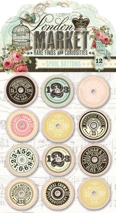 Pink Paislee London Market Spool Buttons by MollysScrapbooks Vintage Labels, Vintage Buttons, Papel Vintage, Illustrations Vintage, London Market, Etiquette Vintage, Button Cards, Button Button, Sewing Notions