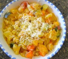 Summer Vegetable Stew with fine summertime season produce and pasta. Look at those beautiful colors too.