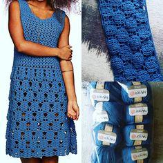 Blue Dress Crocheted Dress Romantic Dress Crochet Lace Dress  Womens Dress Dress Custom Made Clothing