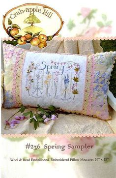 Spring Sampler 236  Hand Embroidery Pattern Crabapple Hill Studios