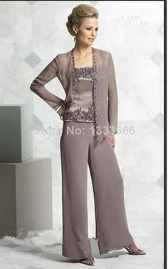 """Wholesale pants for chiffon dress - the bride's mother of mother's wedding dress and jacket and pants. """"2014"""