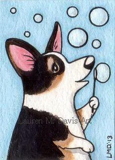 Pembroke Welsh Tri Corgi Dog Bubbles Fun ATC ACEO For SALE Lauren M. Davis Art Painting