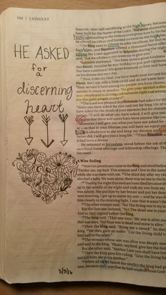 Bible journaling 1 kings Solomon asked for discerning heart and wisdom Scripture Journal, Scripture Study, Bible Art, Art Journaling, 1 Kings, Bible Prayers, Jesus Loves, Love Letters, Awesome Stuff