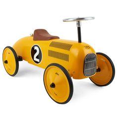 Vilac Retro Ride On Metal Car - Yellow from Lullabuy http://www.lullabuy.co.uk/designer-toys/vilac-retro-ride-on-metal-car-yellow.html