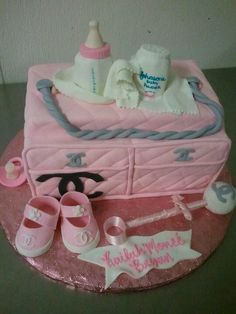 Chanel baby shower cake!! So Chic & adorable!! www.MadamPaloozaEmporium.com www.facebook.com/MadamPalooza