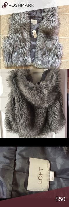 Loft Hooded Gray White Faux Vest Fluffy and luxurious faux vest in darker and lighter tone of gray and white. New with tags. Great holiday gift.  Length from shoulder to hem: 19.5in LOFT Jackets & Coats Vests