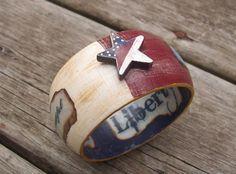 America One Nation Under God - Patriotic red white blue wide cuff - feminine americana on Etsy, $16.95