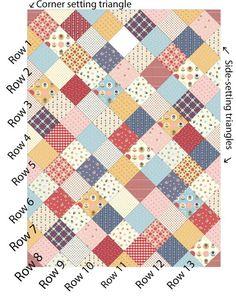 Scrap quilt patterns - Patchwork On Point Quilt Tutorial – Scrap quilt patterns Charm Pack Quilt Patterns, Charm Pack Quilts, Patchwork Quilt Patterns, Charm Quilt, Patchwork Fabric, Crazy Patchwork, Scrap Fabric, Patchwork Designs, Fabric Crafts
