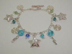 Silver Tone Bracelet Star & Swirl Charms Blue Green by 2lewa, $17.99