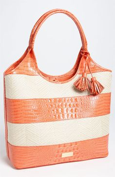Brahmin 'Vineyard' Leather & Raffia Shopper available at #Nordstrom