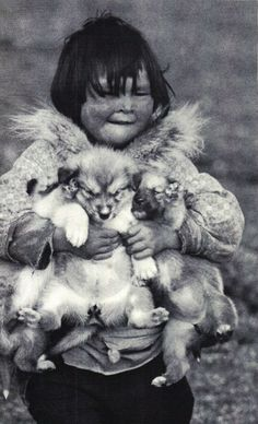 Inuit Alaska? Child with his puppies.