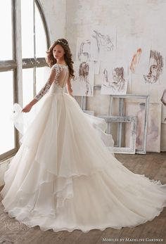 morilee spring 2017 bridal three quarter sleeves sweetheart neckline heavily embellished bodice layer skirt princess ball gown a line wedding dress sheer keyhole back chapel train (5517) bv