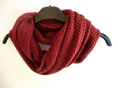 Items similar to red knitting scarf , infinity scarf scarves - cowl - neckwarmer - eternity scarf on Etsy Mens Knitted Scarf, Knitted Hats, Men Scarf, Scarf Knit, Knitwear Fashion, Knit Fashion, Baby Girl Sweaters, Knitting Accessories, Baby Knitting Patterns