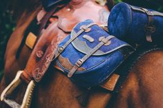Comancheros' complete jeans Saddlebag for back. Waterproof with leather details. Italian design.
