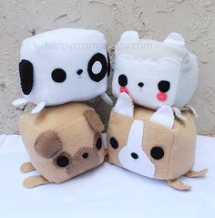 Dog Animal Plush - Kawaii Plushie , Cute Stuffed Animal, Children Softie, Husky, Puppy, Pug, Corgi on Etsy, $20.00