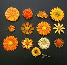 vintage lot 13 brooch pins enamel flowers daisy orange yellow brown bright -x35