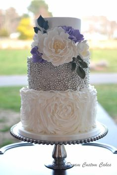 Ruffled and Beaded Wedding Cake by Elisabeth Palatiello