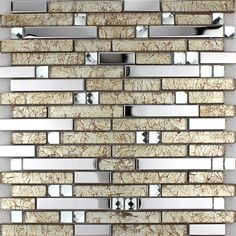 Metallic Backsplash Tiles Brown 304 Stainless Steel Sheet Metal and Crystal Glass Mosaic Wall Decor - 1628