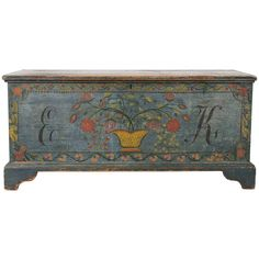 Schoharie County, New York State Blanket Chest | From a unique collection of antique and modern painted furniture at http://www.1stdibs.com/furniture/folk-art/painted-furniture/