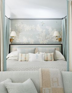 80 Romantic And Elegant Bedroom Decor Ideas light blue master bedroom with tan accents Blue Master Bedroom, Master Bedroom Design, Bedroom Designs, Master Bedrooms, White Bedroom, Romantic Bedroom Decor, Home Decor Bedroom, Bedroom Ideas, Bedroom Colors
