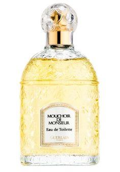 Mouchoir de Monsieur Guerlain. Top notes are lavender, lemon verbena and bergamot; middle notes are tonka bean, patchouli, cinnamon, jasmine, neroli and rose; base notes are iris, amber, vanilla and oakmoss.