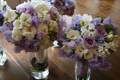 Beautiful bridal bouquet- Lavender and white roses, peonies, berries, tulips and jasmine
