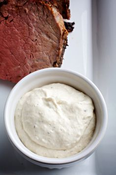 Horseradish Sauce...this sauce should be made at least 4 hours before serving. It can be refrigerated in an airtight container for up to 2 weeks...excellent served with prime rib, steak and roast beef