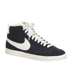 Men's Nike Blazer high suede vintage sneakers in black sail at J.Crew.For