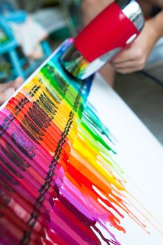 Crayons, canvas and a heating gun. I would love to put this on my wall!